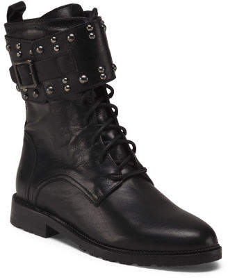 Made In Italy Leather Combat Boots