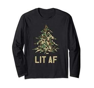 Funny LIT AF Camo Christmas Tree Long Sleeve T-Shirt
