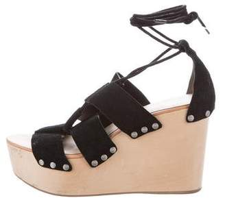 Loeffler Randall Lace-Up Suede Wedges