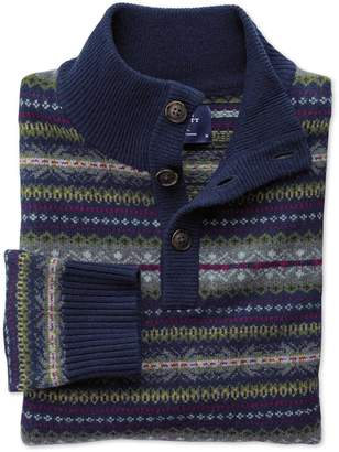 Charles Tyrwhitt Navy Multi Fairisle Button Neck Wool Sweater Size Medium
