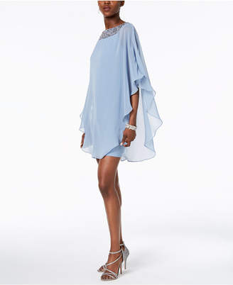 Xscape Evenings Embellished Chiffon Cape-Overlay Dress, Regular & Petite Sizes