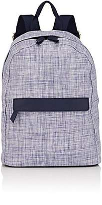 Barneys New York WOMEN'S FAUX-LEATHER-TRIMMED WOVEN BACKPACK - BLUE