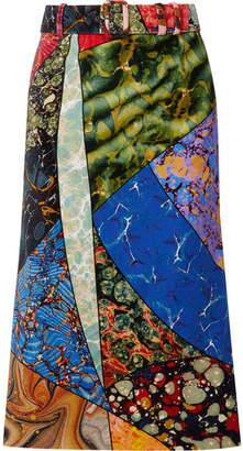 Rosie Assoulin Belted Printed Cotton-velvet Midi Skirt - Bright blue