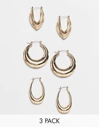 Asos DESIGN pack of 3 hoop earrings in graduating thickness in gold
