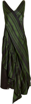 DAY Birger et Mikkelsen Adeam Green Striped Asymmetrical Dress