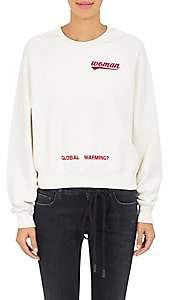 Off-White Women's Rose-Print Cotton Crop Sweatshirt-White