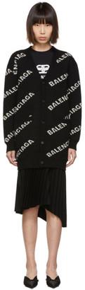 Balenciaga Black Allover Logo Cardigan