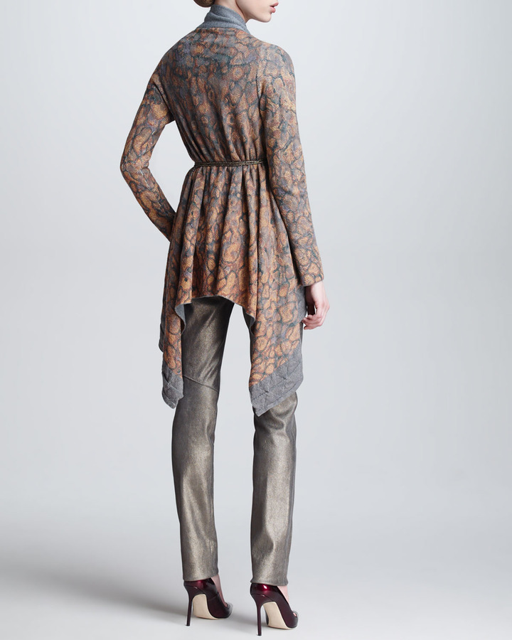 Escada Leather Leggings with Metallic Sheen