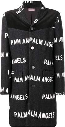 Palm Angels all-over logo printed coat