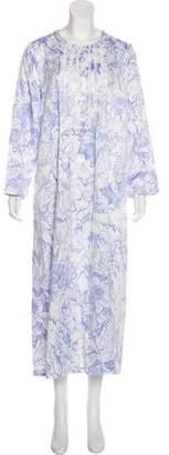 Oscar de la Renta Floral Scoop Neck Nightgown