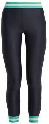 The Upside Striped Detail Compression Performance Leggings - Womens - Navy Print