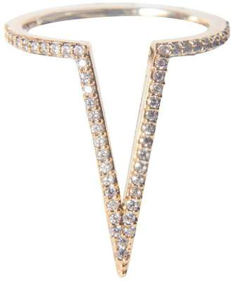 Fame Accessories Rhinestone V Shaped Ring