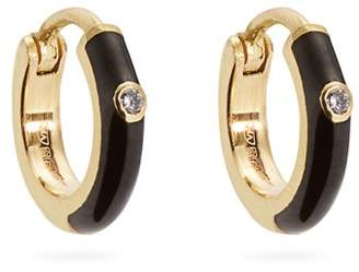 Marc Alary Diamond, Enamel & Yellow Gold Earrings - Womens - Black