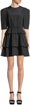 See by Chloe Strong-Shoulder Tiered Tie-Waist Mini Dress