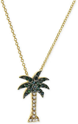 Effy Seaside by Green and White Diamond Palm Tree Necklace (1/10 ct. t.w.) in 14k Gold