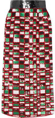 Christopher Kane Checked Sequined Tulle Midi Skirt - Red