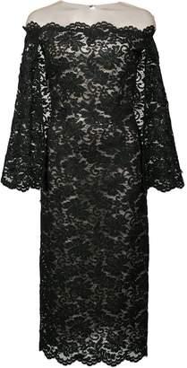 Oscar de la Renta lace cape sleeve bardot dress