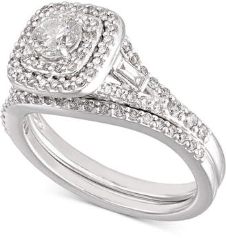 Certified Diamond Halo Bridal Set (1 ct. t.w.) in 18k White Gold