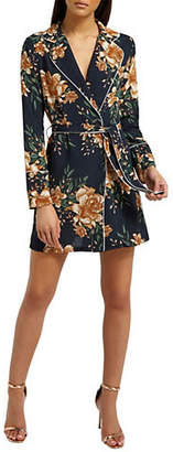 Missguided Floral-Print Belted Wrap Dress