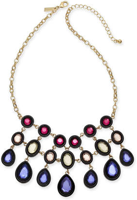 "INC International Concepts I.n.c. Gold-Tone Multi-Stone Statement Necklace, 17"" + 3"" extender"