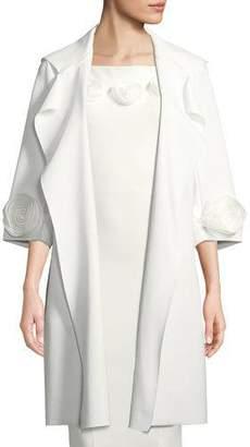 Chiara Boni Margit Open-Front 3D Rose Topper Coat