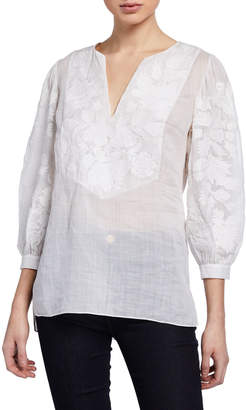 Elie Tahari Serilda Embroidered 3/4-Sleeve Linen Blouse