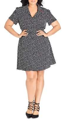 City Chic Plus Short-Sleeve Heart-Print Dress