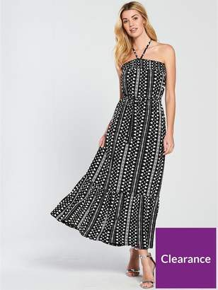 Very Halter Neck Printed Jersey Maxi Dress