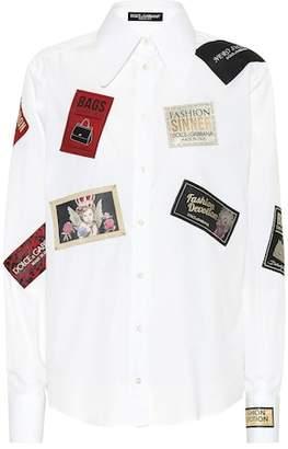 Dolce & Gabbana Appliquéd cotton poplin shirt