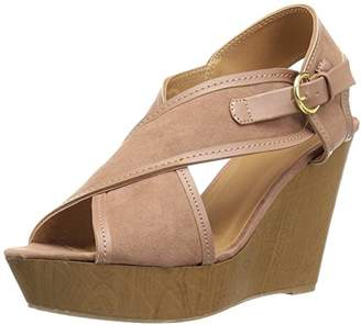 Qupid Women's Wood Heel Heeled Sandal