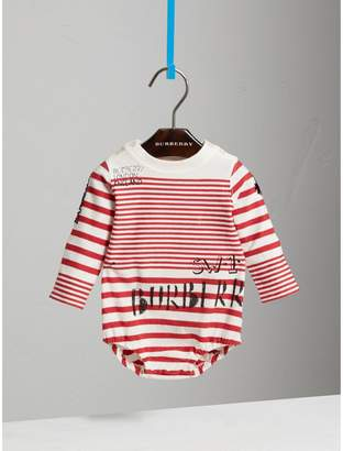 Burberry SW1 Print Striped Cotton Jersey Bodysuit