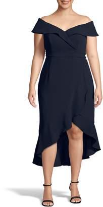 Xscape Evenings Off the Shoulder Ruffle Midi Dress