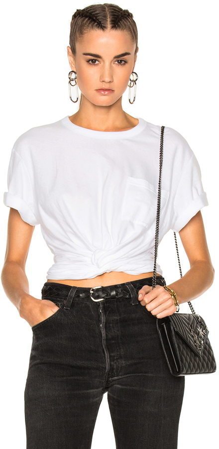 Alexander Wang T by Alexander Wang Cotton Jersey Twist Front Short Sleeve Tee