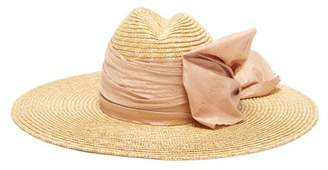 Lola Hats Scallopini Silk Bow Trimmed Straw Hat - Womens - Pink