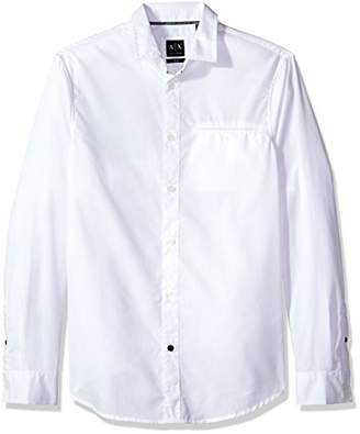 Armani Exchange A|X Men's Welted Front Pocket Button Down Woven