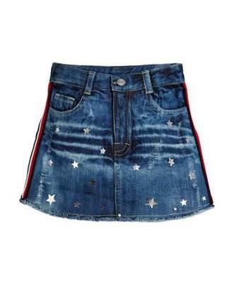 Flowers by Zoe Metallic Star Print Distressed Denim Skirt, Size S-XL