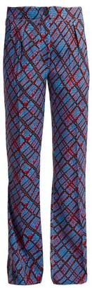 Marni Geometric Print Flared Trousers - Womens - Blue Print