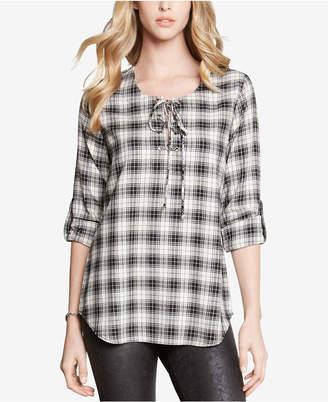 Karen Kane Plaid Lace-Up Shirt