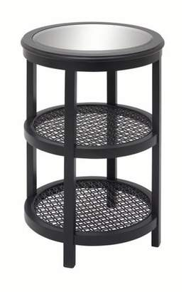 DecMode Decmode Farmhouse 28 X 18 Inch Black Wood and Mirror Round Accent Table, Black