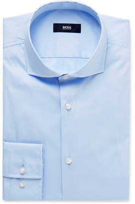 HUGO BOSS Blue Jason Slim-Fit Cutaway-Collar Stretch Cotton-Blend Shirt - Blue