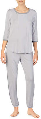 DKNY Striped Three-Quarter Sleeve Pyjama Top