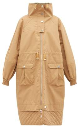 Ganni Funnel Neck Puff Sleeve Cotton Blend Parka Coat - Womens - Beige