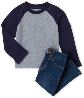 Hudson Infant Boys) Two-Piece Raglan Sleeve Tee & Jeans Set