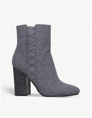 Nine West Ladies Grey Carensa Textile Ankle Boots