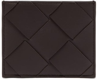 Bottega Veneta Increcciato Woven Leather Cardholder - Mens - Dark Brown