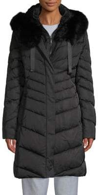 T Tahari Quilted Blue Fox Fur-Trimmed Down Parka