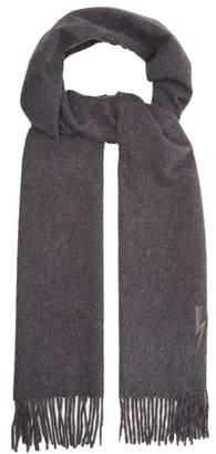 Neil Barrett Lightning Bolt Embroidered Scarf - Mens - Grey