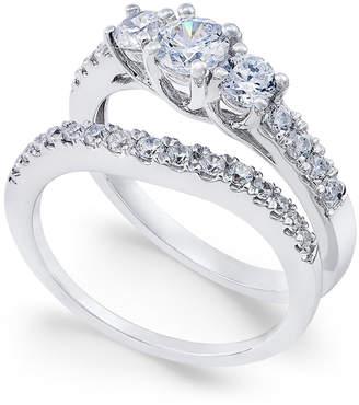 Macy's Diamond Bridal Three Stone Ring Set (1 ct. t.w.) in 14k White Gold