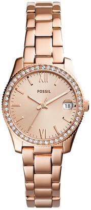 Fossil Scarlette Rose Gold Plated Stone Set Bezel Ladies Watch