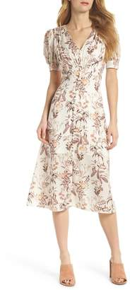 Gal Meets Glam Lauren Botanical Garden Print Midi Dress